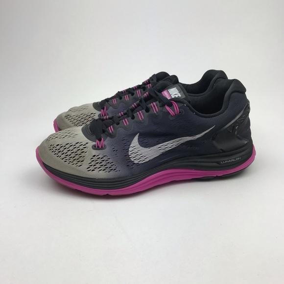 meet ccf53 13a07 Nike LunarGlide+ 5 Shield Black / Pink Shoes 8.5